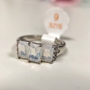 Triple Emerald Cut Genuine Moonstone
